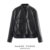 leather clothing Other / other Autumn 2020 XS,S,M,L black routine Long sleeves easy street other PU Wash skin