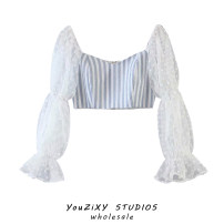 shirt Decor S,M,L Autumn 2020 other 71% (inclusive) - 80% (inclusive) Long sleeves street Short style (40cm < length ≤ 50cm) square neck zipper puff sleeve stripe High waist type Splicing Europe and America