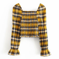 shirt Decor XS,S,M,L Spring 2020 other 71% (inclusive) - 80% (inclusive) Long sleeves street Short style (40cm < length ≤ 50cm) square neck Socket puff sleeve lattice Splicing Europe and America