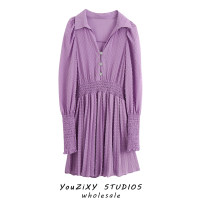 Dress Autumn 2020 violet XS,S,M,L Short skirt singleton  Long sleeves street Solid color Socket other Splicing Europe and America