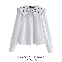 shirt white XS,S,M,L Spring 2021 other 71% (inclusive) - 80% (inclusive) Long sleeves street Regular Doll Collar Single row multi button puff sleeve Solid color High waist type Hollowed out, stitched and embroidered Europe and America