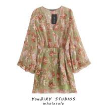 Dress Summer 2020 Green, pink S,M,L Short skirt singleton  Long sleeves V-neck Decor Socket Splicing