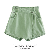Casual pants Purple, green, black XS,S,M,L Autumn 2020 shorts Wide leg pants High waist street routine Europe and America