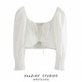 shirt white S,M,L Summer 2020 other 71% (inclusive) - 80% (inclusive) elbow sleeve street Short style (40cm < length ≤ 50cm) square neck Socket puff sleeve Solid color High waist type Lace up, stitching Europe and America