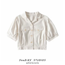 shirt White, light purple S, M Summer 2021 other 71% (inclusive) - 80% (inclusive) Long sleeves street Short style (40cm < length ≤ 50cm) Polo collar Single row multi button Solid color Self cultivation Europe and America