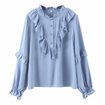 shirt blue S,M,L Winter of 2019 other 71% (inclusive) - 80% (inclusive) Long sleeves street Regular Socket routine Solid color Ruffles, stitching Europe and America