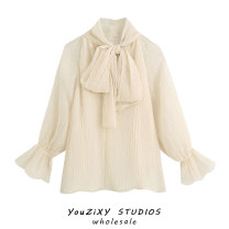 shirt Decor XS,S,M,L Autumn 2020 other 71% (inclusive) - 80% (inclusive) Long sleeves Regular Socket Solid color Bowknot, stitching