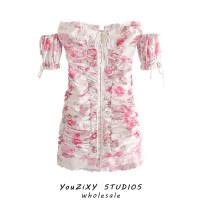 Dress Summer 2020 Decor S,M,L Short skirt singleton  Short sleeve street One word collar Decor Type A Europe and America