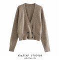 Wool knitwear Autumn 2020 S,M,L coffee Long sleeves singleton  Cardigan other 71% (inclusive) - 80% (inclusive) Regular routine street easy Solid color double-breasted Splicing Europe and America