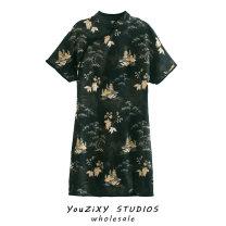 Dress Autumn 2020 Decor XS,S,M,L Short skirt singleton  Short sleeve street Decor Socket Type A Splicing Europe and America