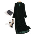 Dress Autumn of 2019 Black, dark green S,M,L,XL,2XL,3XL,4XL longuette singleton  Long sleeves street V-neck Loose waist Solid color Socket other routine Others 35-39 years old Type H other Flocking, pleating, folding, splicing, resin fixation 30% and below Silk and satin silk Europe and America