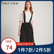 Dress Summer of 2019 020 black 155/80A/S 160/84A/M 165/88A/L 170/92A/XL Mid length dress singleton  Short sleeve commute V-neck High waist Broken flowers Socket other raglan sleeve Others 25-29 years old Type A FIRSTVIEW Simplicity Lace up button zipper print 78206AS020030 More than 95% other