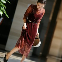 Dress Winter 2020 Black, ruby red, bean paste, forest green S,M,L,XL,2XL longuette singleton  Sleeveless commute V-neck Loose waist Solid color Socket A-line skirt routine camisole 30-34 years old Type H Retro Lace B8527-SR