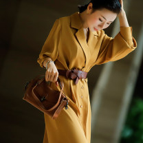 Dress Spring 2021 turmeric S,M,L,XL longuette singleton  Long sleeves commute tailored collar Solid color A-line skirt routine 30-34 years old Type H Frenulum