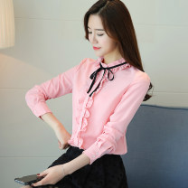 Lace / Chiffon Autumn of 2018 White, yellow, red, pink, black [skirt] S,M,L,XL,2XL,3XL,4XL Long sleeves commute Socket singleton  easy have cash less than that is registered in the accounts stand collar Solid color shirt sleeve Bowknot, ruffle, fungus, lace, stitching, button, lace Korean version