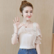 Lace / Chiffon Summer 2020 S,M,L,XL,XXL Short sleeve commute Socket singleton  easy Regular One word collar Solid color Lotus leaf sleeve Other / other 8198# Korean version 30% and below