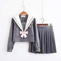 student uniforms Summer of 2019 Grey short sleeve + skirt + bow tie, grey long sleeve + skirt + bow tie, grey short sleeve, grey long sleeve, grey skirt, single cardigan S,M,L,XL,XXL