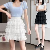 skirt 8588 Summer 2021 Short skirt High waist Cake skirt Other / other S,M,L,XL White, black