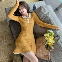 Dress Autumn 2020 Yellow, black S,M,L,XL Short skirt singleton  Long sleeves commute Polo collar High waist Solid color Socket A-line skirt routine Others 18-24 years old Type A lady Splicing, three-dimensional decoration, resin fixation 91% (inclusive) - 95% (inclusive) other other