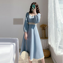 Dress Autumn 2020 Light blue long sleeves, light blue short sleeves S,M,L,XL,2XL Mid length dress singleton  Long sleeves commute V-neck High waist Solid color Socket A-line skirt puff sleeve Others Type A Retro Auricularia auricula, button 71% (inclusive) - 80% (inclusive) other other