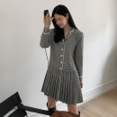 Dress Autumn 2020 dark grey S,M,L,XL Mid length dress singleton  Long sleeves commute tailored collar High waist lattice Single breasted Pleated skirt routine Others Type A Korean version Button LQ337 71% (inclusive) - 80% (inclusive) other other