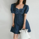 Dress Summer 2020 blue S,M,L Short skirt singleton  Short sleeve commute square neck High waist Solid color Socket A-line skirt Wrap sleeves Others Type A Korean version 71% (inclusive) - 80% (inclusive) Denim cotton