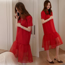 Dress Summer of 2019 Red, black S,M,L,XL Mid length dress singleton  Short sleeve commute Crew neck High waist Solid color Socket Ruffle Skirt routine Others Type A Korean version Lace, stitching, mesh, zipper 91% (inclusive) - 95% (inclusive) Chiffon polyester fiber