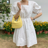 Dress Summer 2021 White, blue Average size Mid length dress singleton  Short sleeve commute square neck High waist Decor Socket Big swing puff sleeve Others 18-24 years old Type A Other / other Korean version 31% (inclusive) - 50% (inclusive) other other