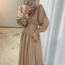 Dress Winter 2020 Khaki, grey blue Average size longuette singleton  Long sleeves commute V-neck High waist Solid color Socket A-line skirt routine 18-24 years old Other / other Button Chiffon polyester fiber