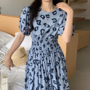 Dress Summer 2021 Blue, yellow, black Average size longuette singleton  Short sleeve commute Crew neck Elastic waist Decor Socket Big swing puff sleeve Others 18-24 years old Type A Other / other Korean version 31% (inclusive) - 50% (inclusive) brocade cotton