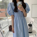 Dress Summer 2021 Sky blue, white, pink, green, yellow Average size longuette singleton  elbow sleeve commute Crew neck High waist Solid color Socket Big swing puff sleeve Others 18-24 years old Type A Other / other Korean version 31% (inclusive) - 50% (inclusive) other other