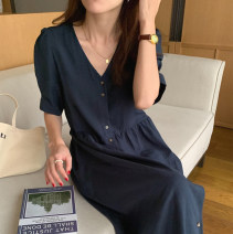 Dress Summer 2021 Dark blue, pumpkin Average size longuette singleton  Short sleeve commute V-neck High waist Solid color Single breasted A-line skirt puff sleeve Others 18-24 years old Type A Korean version 31% (inclusive) - 50% (inclusive) brocade cotton