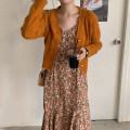 Dress Spring 2021 Orange cardigan, suspender skirt Average size Mid length dress Two piece set Long sleeves V-neck High waist Broken flowers other other other 18-24 years old Other / other 30% and below other