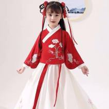 Hanfu other 2, 3, 4, 5, 6, 7, 8, 9, 10, 11, 12, 13, 14, and over 14 years old polyester fiber Chinese style female Red, white Penha  100,110,120,130,140,150,160