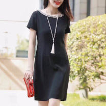 Dress Summer 2021 As shown in the figure Middle-skirt singleton  Short sleeve commute Crew neck middle-waisted Solid color Socket other other Others Type H Novel goldette Ol style 81% (inclusive) - 90% (inclusive) other other