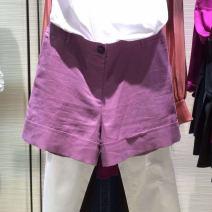 Casual pants violet , white , khaki 1 = XS, 2 = s, 3 = m, 4 = L, 5 = XL Summer 2021 shorts Straight pants Natural waist Versatile Thin money 96% and above O'amash banner hemp hemp