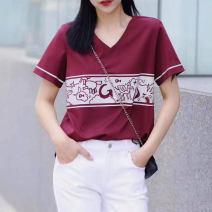 T-shirt claret 2 = s, 3 = m, 4 = L, 5 = XL Autumn 2021 Short sleeve V-neck Self cultivation Regular routine commute cotton 71% (inclusive) - 85% (inclusive) Ol style Pinge Dixin