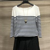 T-shirt Black, white 2 = s, 3 = m, 4 = L, 5 = XL Spring 2021 Long sleeves Crew neck Self cultivation Regular routine commute silk 71% (inclusive) - 85% (inclusive) Ol style Novel goldette