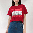 T-shirt Yellow, red 2 / s, 3 / m, 4 / L, 5 / XL Summer 2021 Short sleeve Crew neck easy Regular routine commute cotton 96% and above Korean version originality Letters, architecture Pinge Dixin