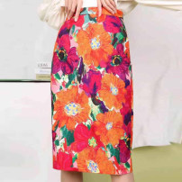 skirt Summer 2021 1 / XS, 2 / s, 3 / m, 4 / L, 5 / XL Decor longuette commute High waist skirt Decor Type H More than 95% O'amash banner cotton printing Korean version