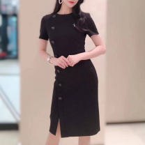 Dress Summer 2021 black 2 = s, 3 = m, 4 = L, 5 = XL Middle-skirt singleton  Short sleeve commute Crew neck middle-waisted Socket other routine Others Type H Pinge Dixin Ol style 31% (inclusive) - 50% (inclusive) other other