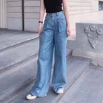 Jeans Spring 2021 wathet 1 / XS, 2 / s, 3 / m, 4 / L, 5 / XL trousers High waist Straight pants routine other light colour Pinge Dixin 96% and above
