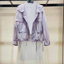 short coat Spring 2021 2 = s, 3 = m, 4 = L, 5 = XL Purple, white Long sleeves routine Thin money singleton  Straight cylinder Versatile routine Hood zipper Solid color O'amash banner 81% (inclusive) - 90% (inclusive) other