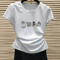 T-shirt white 2 / s, 3 / m, 4 / L, 5 / XL, 6 = XXL Summer 2021 Short sleeve Crew neck Self cultivation Regular routine commute cotton 96% and above Ol style other Pinge Dixin