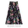 skirt Spring 2021 80-120 Jin Black, apricot pink Mid length dress grace High waist A-line skirt Decor Type A 18-24 years old printing
