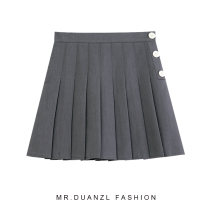 skirt Spring 2021 S,M,L Gray, black Short skirt Versatile High waist Pleated skirt Solid color Type A 18-24 years old Button, zipper