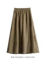 skirt Autumn 2020 80-120 Jin Khaki, brown, black Mid length dress commute High waist A-line skirt Solid color Type A 18-24 years old Dot Korean version