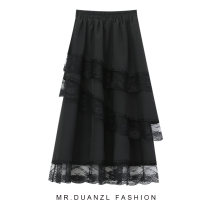 skirt Spring 2021 80-120 Jin White, black Mid length dress grace High waist Splicing style Solid color Type A 18-24 years old Lace