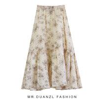 skirt Spring 2021 80-120 Jin Green, apricot, white Mid length dress fresh High waist A-line skirt other Type A 18-24 years old Zipper, print