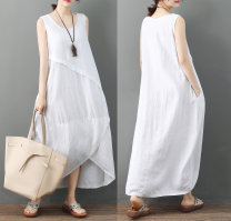 Women's large Summer 2020 White [sleeveless], Navy [sleeveless] Big XL, big XXL, big L, big M Dress singleton  commute easy moderate Socket Sleeveless Korean version Crew neck Medium length Cotton, hemp A wardrobe 25-29 years old 51% (inclusive) - 70% (inclusive) Medium length Irregular skirt